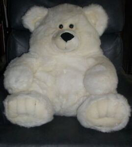 "23"" AMERICA WEGO WHITE GRIZZLY POLAR BEAR TEDDY PLUSH STUFFED ANIMAL PAL TOY VTG"