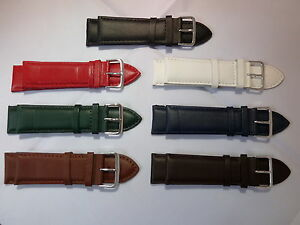 Black-Brown-White-Red-Blue-Green-High-Quality-Leather-Watch-Straps-24-26-28-30mm