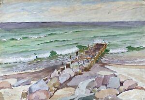 Acquerello-Impressionista-Spiaggia-Di-Heiligendamm-Costa-Del-Mar-Baltico-Firmato