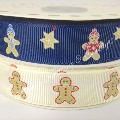 Par mètre grosgrain ruban homme pain d/'épice de Noël bleu ivoire 19mm de large
