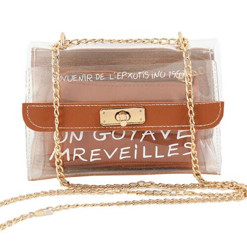 New Ladies Crossbody Shoulder Handbag Clear Transparent Key Purse PVC Bag US
