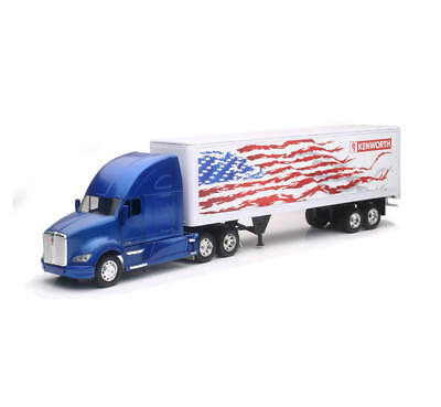 New Ray 1/32 Kenworh T700 Semi With American Flag Design Trailer Blue Ss 10273 G Diecast & Toy Vehicles