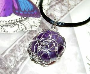 STUNNING HAND-CRAFTED SILVER WIRE-WRAPPED FLUORITE CRYSTAL PENDANT 1-5/8 Inches