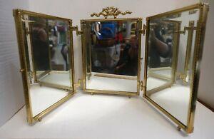 FB1-bx trois partie biseauté Verre Miroir de maquillage, pliant, vintage