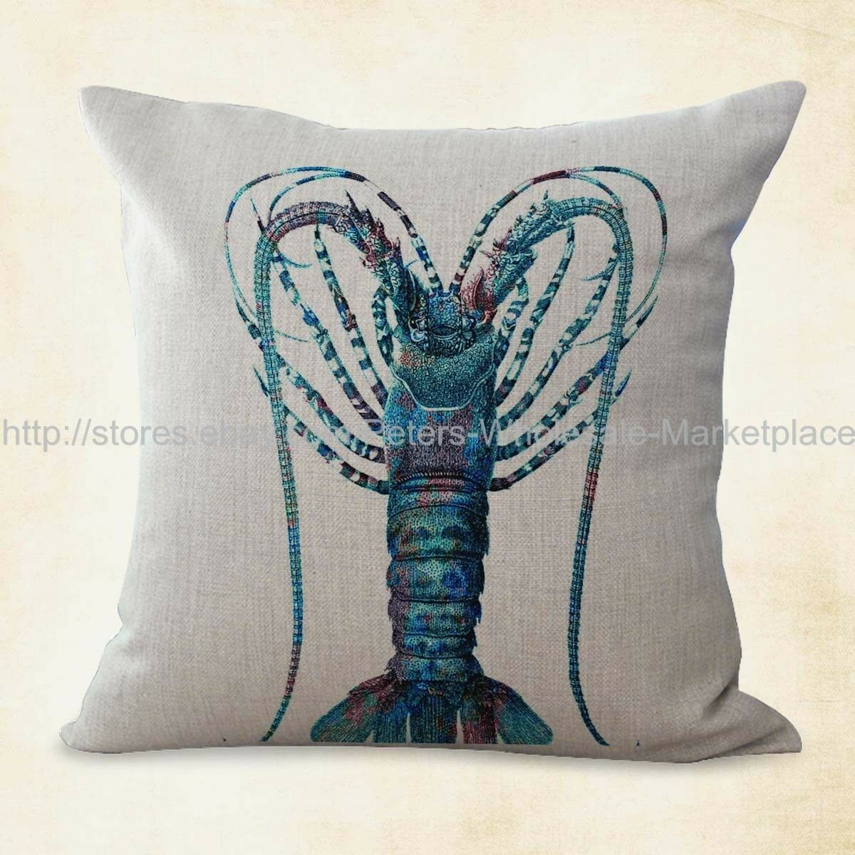 US SELLER set of 2 pillow cover marine life sea animal lobster cushion cover