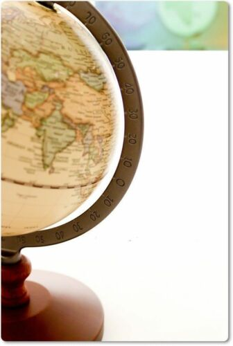 Vintage Wood World Map Globe Decorative Desktop Rotating Geography Globe Antique