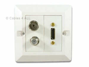 Details about HDMI TV Aerial Satellite Wall Plate - Quick Connect No  Soldering - White