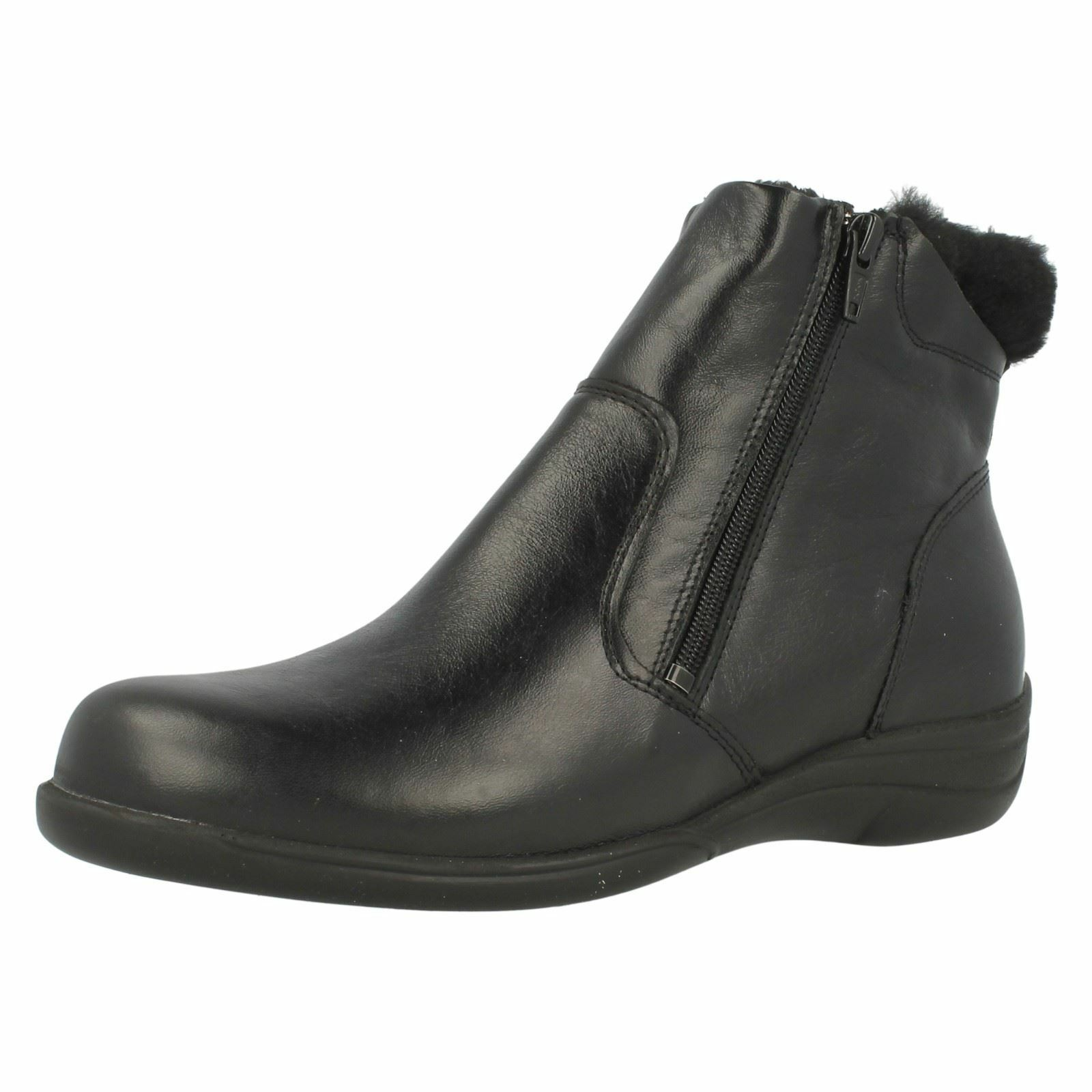 Ladies Easy B Wide Variable Fitting Double  Zip Leather Ankle stivali - Mia  prezzo all'ingrosso