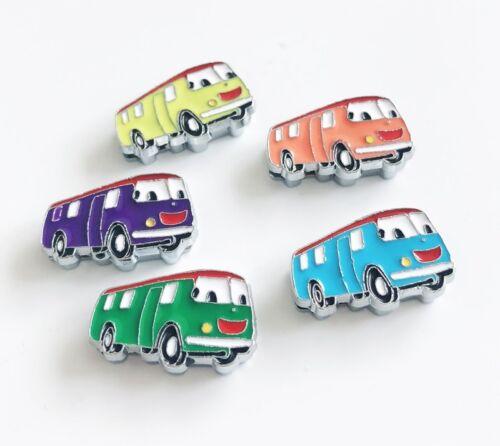 10PCs 8 mm enamel school bus Slide Charms Fit À faire soi-même 8 mm col Ceintures Bracelets balises