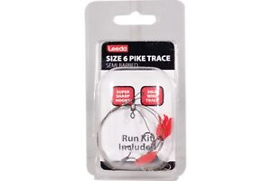 Leeda-Pike-Traces-Semi-Barbed-Size-6-amp-8-Pack-of-5-Traces