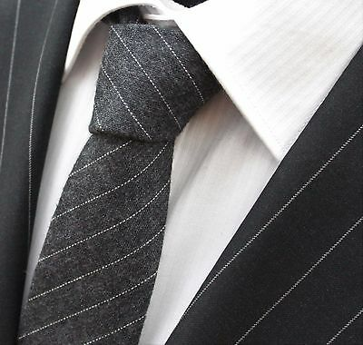 Tie Cravatta Slim Carbone Con A Righe Sottili Qualità Cotone T6097-mostra Il Titolo Originale
