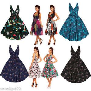 SARAH-P-LADIES-VINTAGE-PRINTS-50-039-S-ROCKABILLY-RETRO-PARTY-DRESS-SIZE-8-22-NEW
