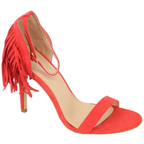 Femmes Sandales Kelsi Femmes Pompons En Simili Daim Talon Haut Bout Ouvert Chaussures Party New