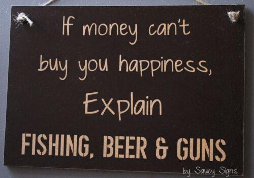 Beer Guns and Fishing Happiness Sign Fish Hunting Boating Tackle Shooting Rod