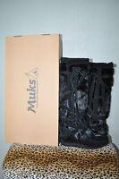 Muks Designer Black Suede Rabbit Fur Mukluks Boots Sz 5 6 7 9 10 $395