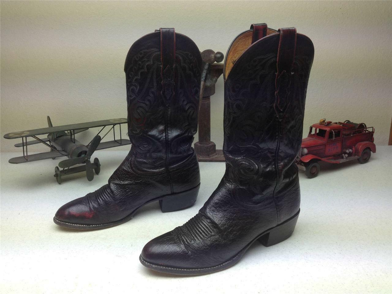 BURGUNDY BRUSH-OFF LUCCHESE SMOOTH OSTRICH WESTERN RODEO COWBOY BOOTS SIZE 9 EE