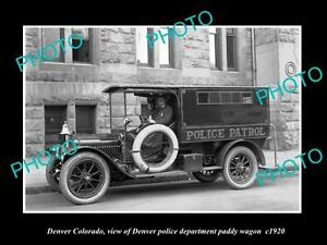 OLD-LARGE-HISTORIC-PHOTO-OF-DENVER-COLORADO-THE-POLICE-PADDY-WAGON-c1920