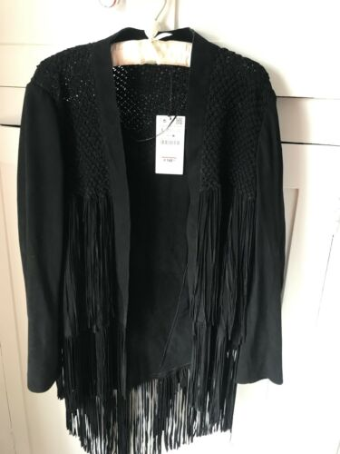 Rrp 99 Zara Suede Macrame L Black £179 Jacket Size TUTa7ZAWqv