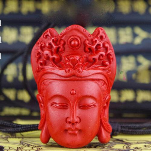 Natural Vermelho Cinábrio Escultura Laca Chinesa Kwan Yin Colar Pingente De Cabeça Para