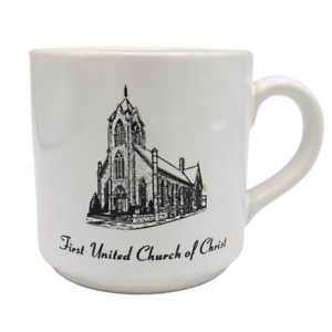 First-United-Church-of-Christ-Coffee-Mug-UCC-125th-Anniversary-1863-1988-Gothic