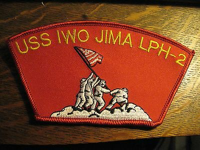USS Iwo Jima LPH-2 USA USN Navy Military Ship Embroidered Red Sewn Jacket Patch