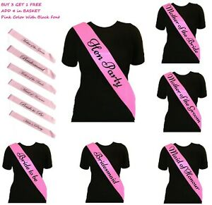 Pink-Hen-Party-Sashes-Girls-Night-Out-Sash-Wedding-Bride-To-Be-Bridesmaid-Honor