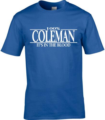 Coleman Nom T-shirt homme 100/% Coleman Cadeau Nom Famille