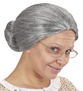 Oma Damen Perücke grau meliert Dutt Greisin Alte Großmutter Omi Märchen Knoten