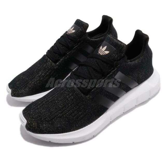 adidas Originals Swift Run W Core Black White Gold Women Running Shoes  CQ2018