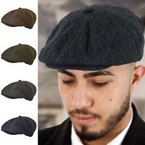 PEAKY-BLINDERS-TOMMY-SHELBY-WOOL-BLEND-HERRINGBONE-BAKERBOY-NEWSBOY-FLAT-CAP-HAT