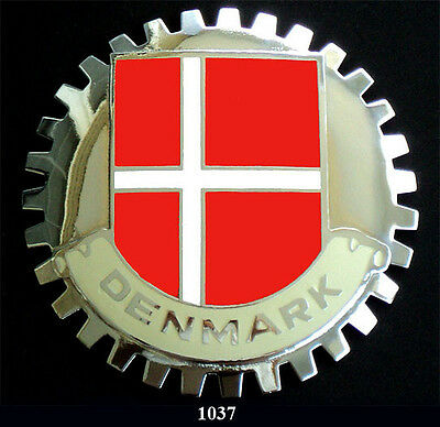 FLAG CAR GRILLE EMBLEM BADGES DENMARK