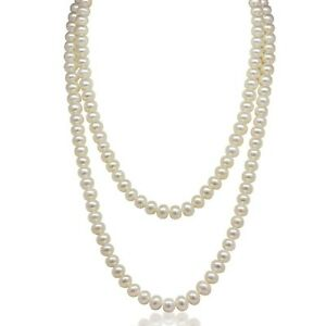 All Natural 8-8.5 mm Freshwater Mostly Round Pearl 47-inch Long Strand Necklace