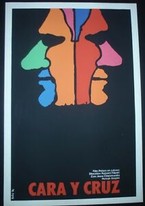 FACE-AND-CROSS-Cuban-Silk-screen-Poster-for-Polish-Movie-by-Cuba-Artist-BACHS