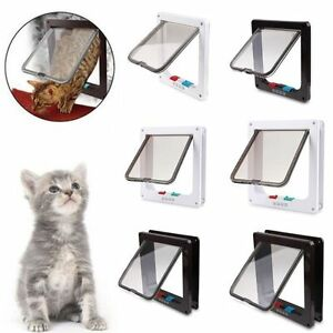 2-Colors-Frame-4-Way-Locking-Lockable-Puppy-Kitten-Cat-Dog-Flap-Pet-Door-S-M-L