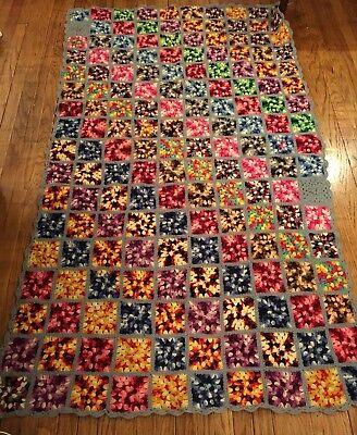 """Handmade Wool Afghan Throw Blanket Multi-Color 84"""" x 48"""""""