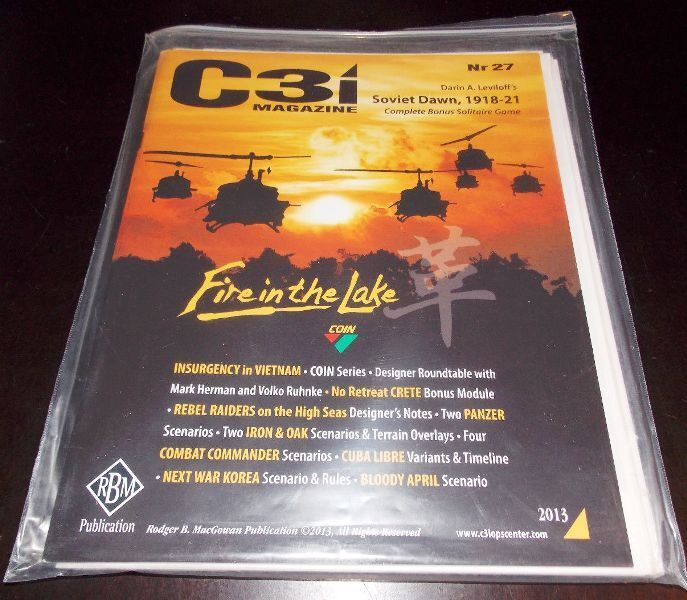 NEW, GMT C3i  27, Fire in the Lake cover, w/ all inserts, Soviet Dawn module