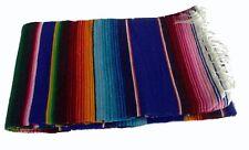 "#203 Blue Sarape Blanket Wholesale Price 58""x80"" Reversible Mexico Party Bright"