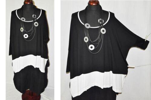 Lagenlook OVERSIZE Blogger XXXXL-Kasten-Shirt BLACK/&WHITE Stulpenärmel
