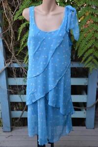 THREADZ-Label-Size-XL-Light-Blue-AS-NEW-Sleeveless-Layered-Dress-Flattering-Look