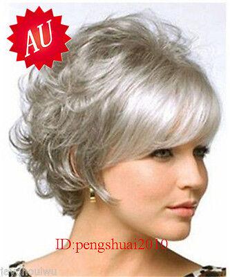 Fashion Short Natural Curly Wavy Hair Wig Gray Women Cosplay Full Wig Wigs