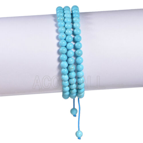 6mm Natural 108 Prayer Gemstone Macrame Yoga Buddha Mala Braided Beads Bracelet