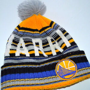 fcdb6dde NBA GOLDEN STATE WARRIORS WINTER HAT Mitchell & Ness Pom Pom Knit L8 ...