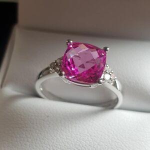 9ct-Oro-Blanco-Zafiro-Rosa-Y-Diamantes-Anillo-Tamano-Natural-n-gastos-de-envio-gratis