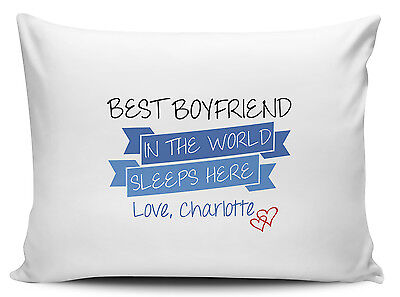 Personalised Best Boyfriend In The World Sleeps Here Pillow Cases - Brand New