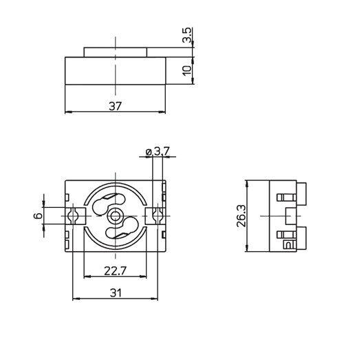 Starterfassung Fassung Starter Halterung Standardstarter 4-65W Leuchtstofflampe