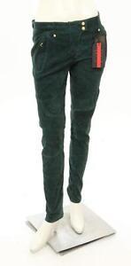 Balmain-x-H-amp-M-Green-Suede-Straight-Leg-Moto-Pants-Size-US-12-NEW-399