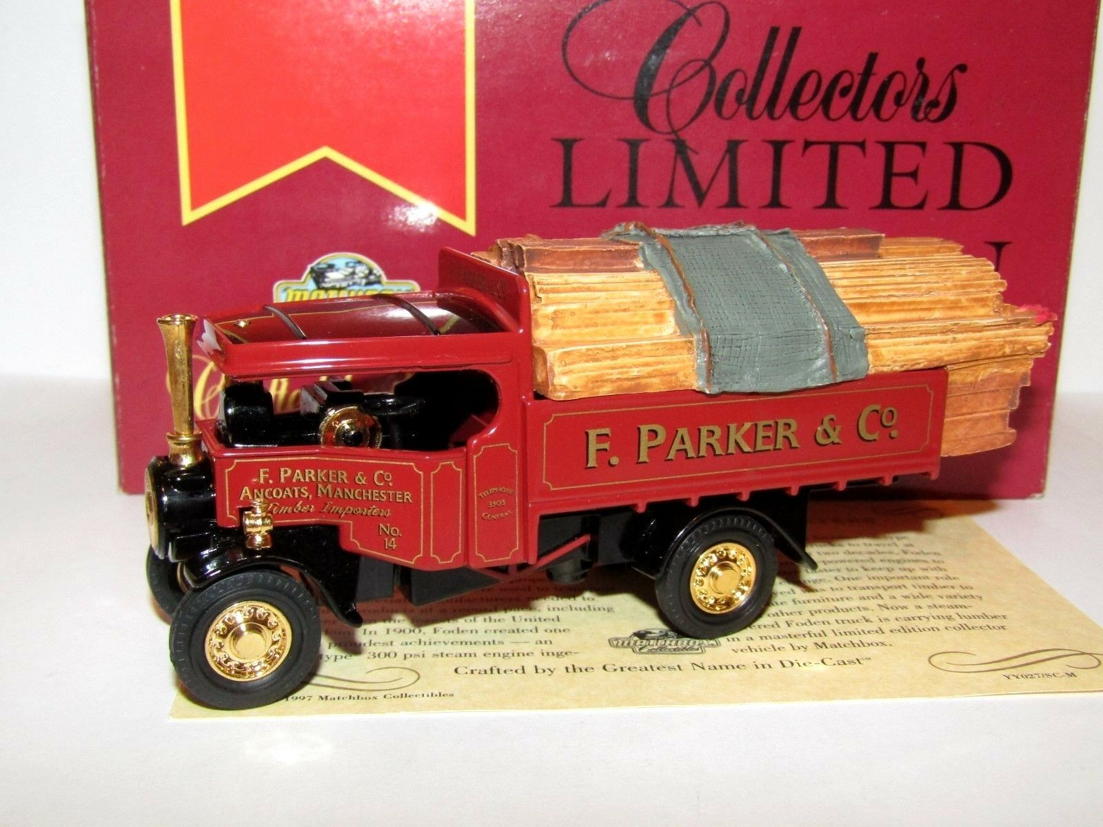 MATCHBOX MODELS OF YESTERYEAR FODEN STEAM WAGON F PARKER & CO YY027 SC