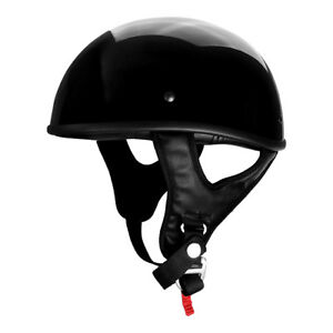 DOT-Approved-Black-Gloss-Low-Profile-Motorcycle-Half-Helmet-Cap-Skid-Lid