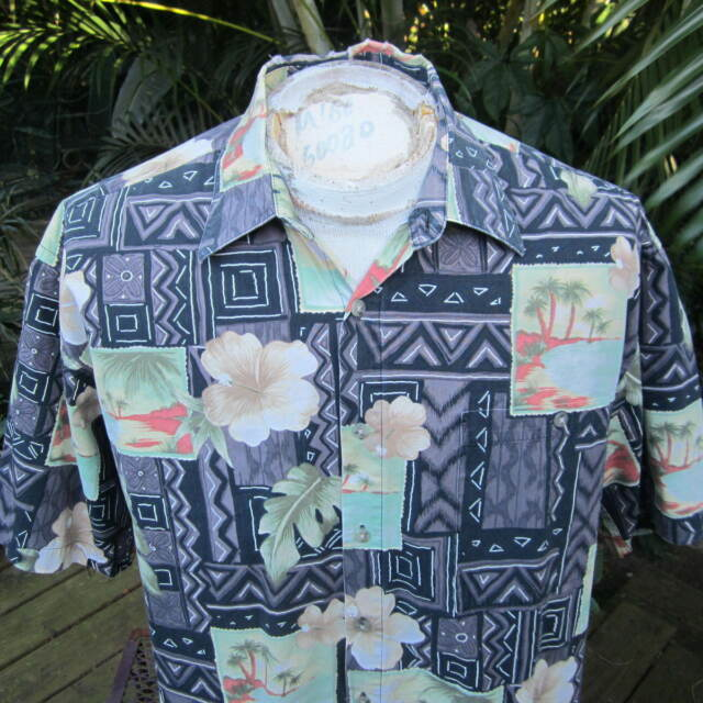 HAWAIIAN Aloha SHIRT XL pit to pit 25 PIERRE CARDIN postcard tropic flora