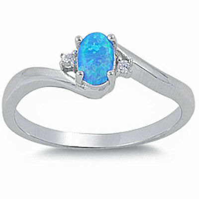 BLUE OPAL & CZ  .925 Sterling Silver Ring SIZES 5-10